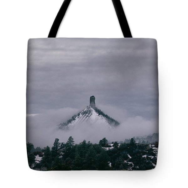 Winter Morning Fog Envelops Chimney Rock Tote Bag