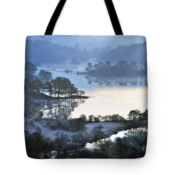 Winter Morning Frost At Rydal Water. Lake District National Park, England  Tote Bag