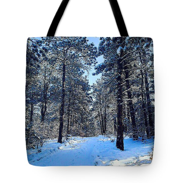 Tote Bag featuring the digital art Winter Morning by Walter Chamberlain