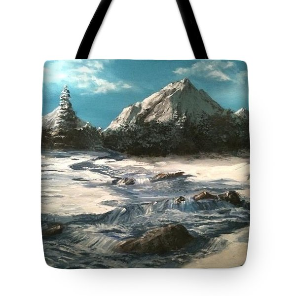Tote Bag featuring the painting Winter Mountain Stream by Jack Skinner
