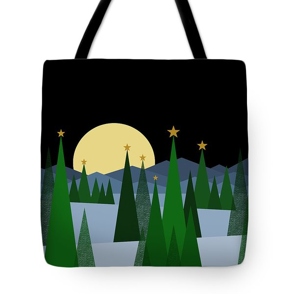 Winter Night Full Moon Tote Bag by Val Arie
