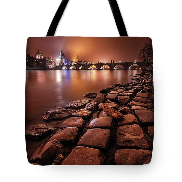 Winter Night Near Charles Bridge In Prague, Czech Republic Tote Bag