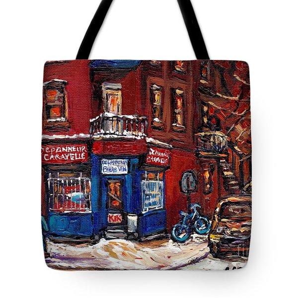 Winter Night Scene Street Hockey Painting Depanneur Caravelle Rue Dufresne Best Montreal Art Scenes Tote Bag