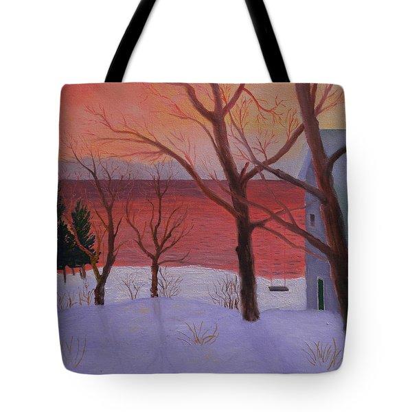 Winter Ocean Sunrise Tote Bag