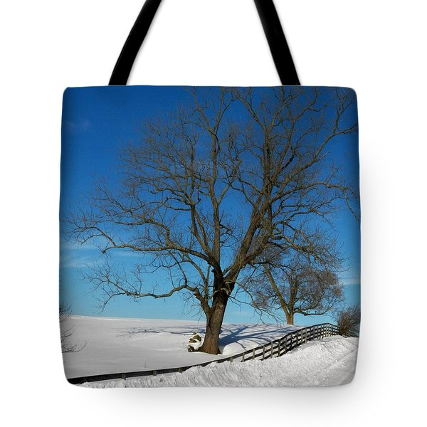 Winter On A Country Road Tote Bag by Joyce Kimble Smith