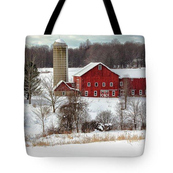 Winter On A Farm Tote Bag