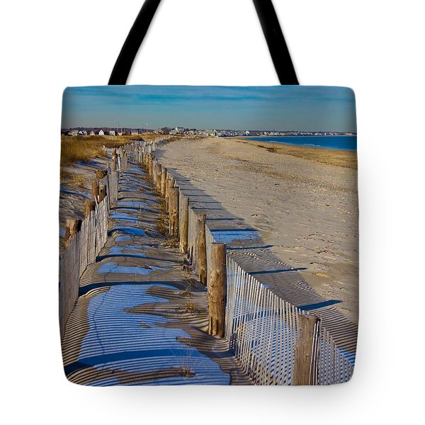 Tote Bag featuring the photograph Winter On Duxbury Beach by Amazing Jules