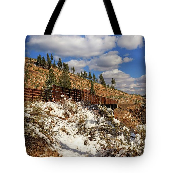 Winter On The Bizz Johnson Trail Tote Bag by James Eddy