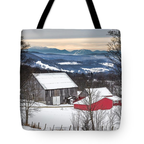 Winter On The Farm On The Hill Tote Bag