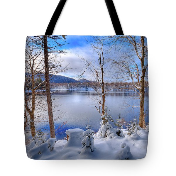 Winter On West Lake Tote Bag by David Patterson