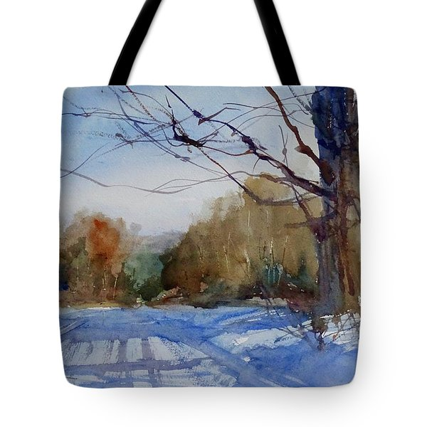 Winter On White Road Tote Bag