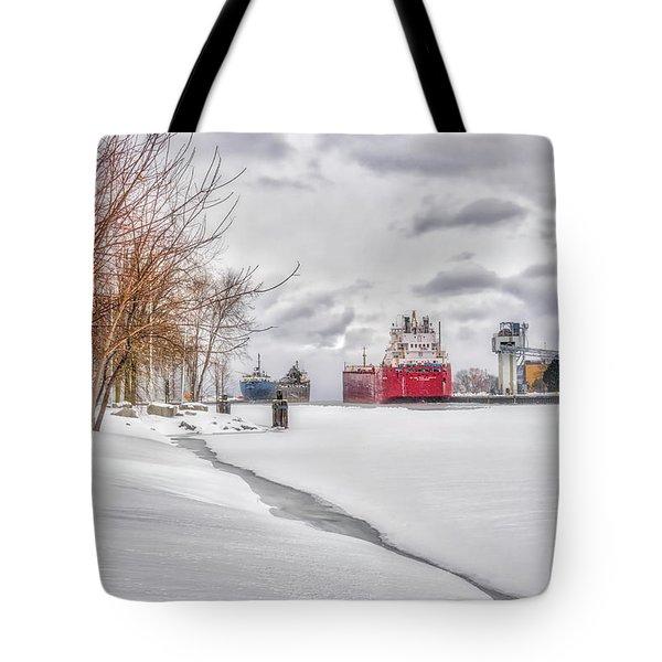 Winter Owen Sound Harbour Tote Bag by Irwin Seidman