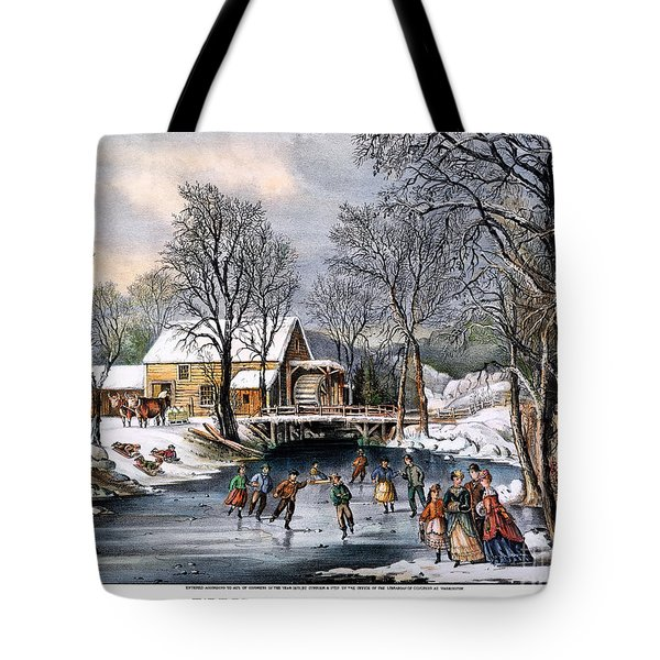 Winter Pastime, 1870 Tote Bag