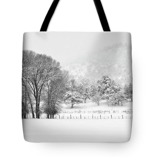 Winter Pasture In Black And White Tote Bag