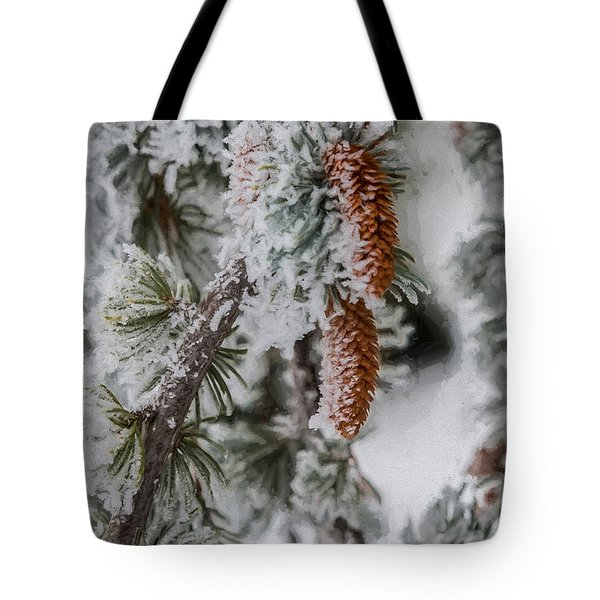 Winter Pine Cones Tote Bag