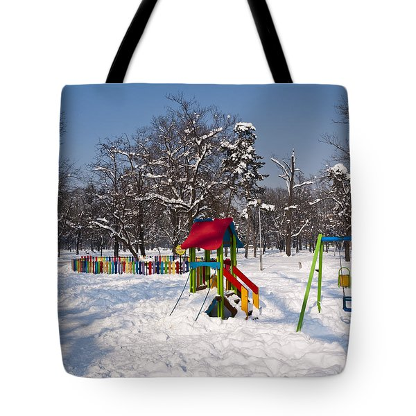 Winter Playground Tote Bag by Rae Tucker