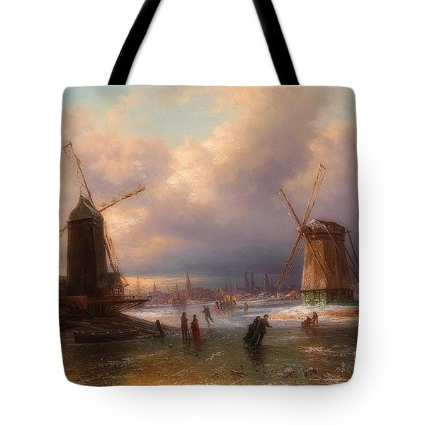 Winter Pleasures On The Ice Outside A Dutch Town Tote Bag