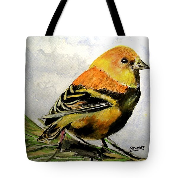 Winter Plumage On Golden Finche Tote Bag