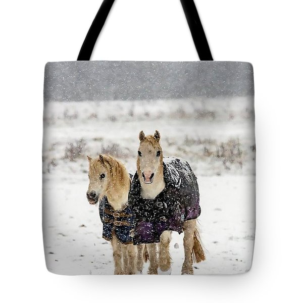 Tote Bag featuring the photograph Winter Pony by Cliff Norton