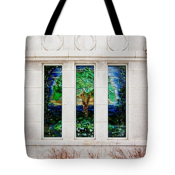 Winter Quarters Temple Tree Of Life Stained Glass Window Details Tote Bag