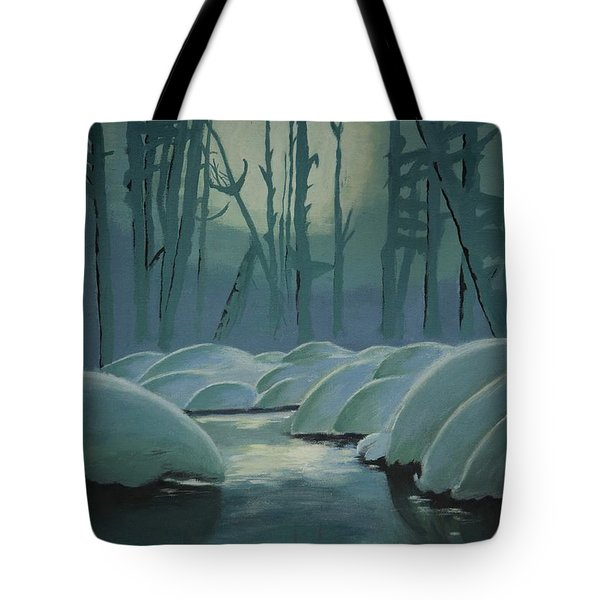 Tote Bag featuring the painting Winter Quiet by Jacqueline Athmann