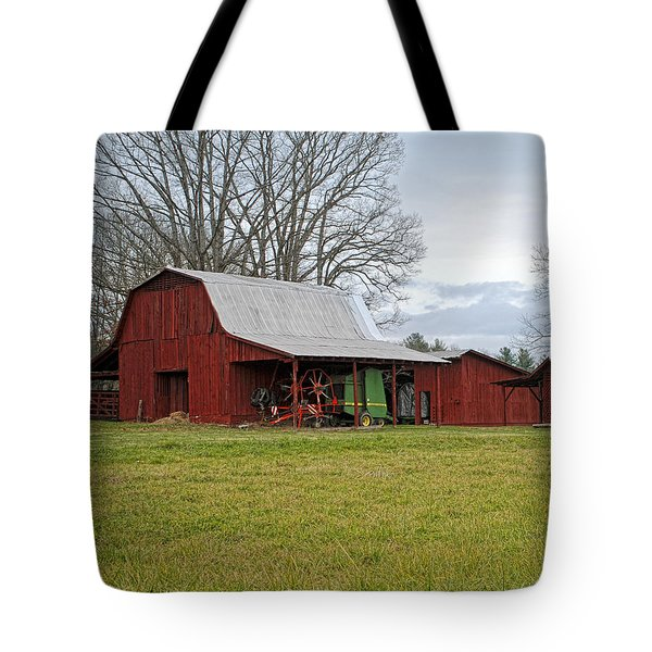 Tote Bag featuring the photograph Winter Red Barn by Claire Turner