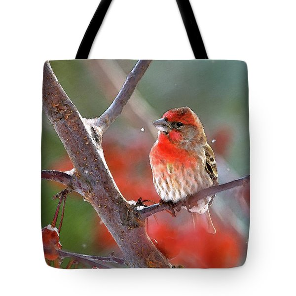 Winter Red Tote Bag by Betty LaRue