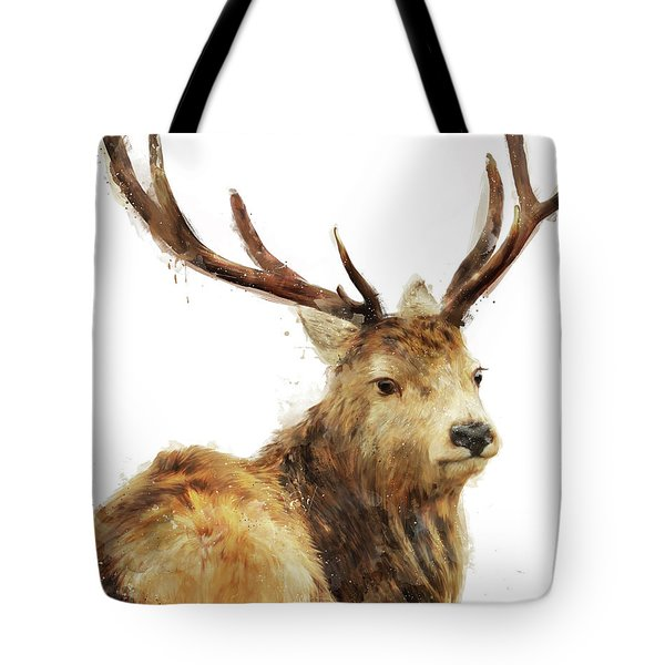 Winter Red Deer Tote Bag by Amy Hamilton