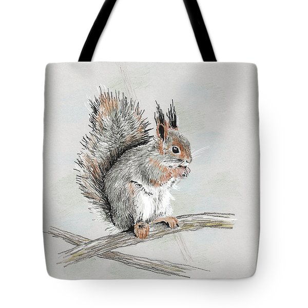 Winter Red Squirrel Tote Bag