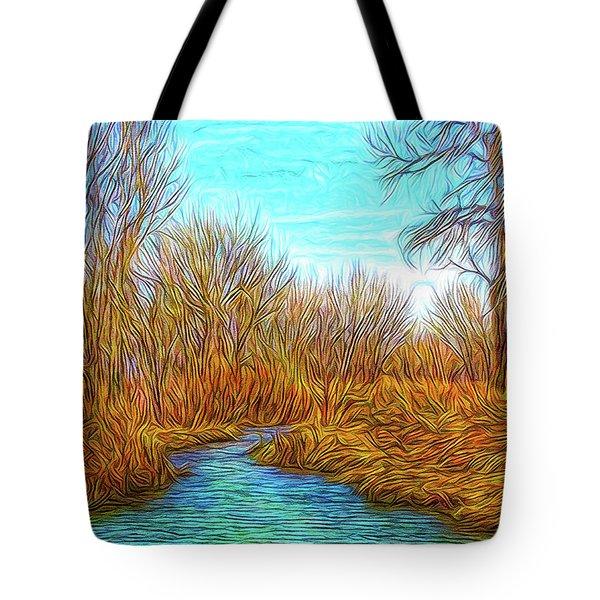 Winter River Breeze Tote Bag