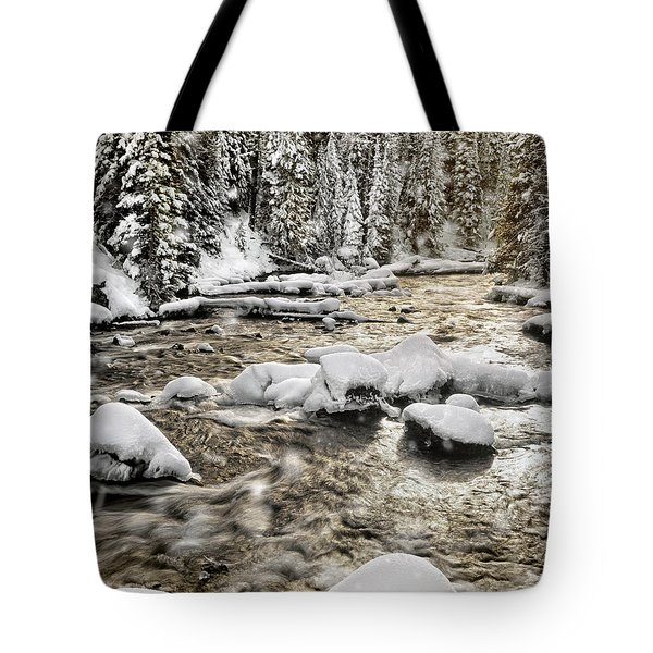 Winter River Tote Bag by Leland D Howard