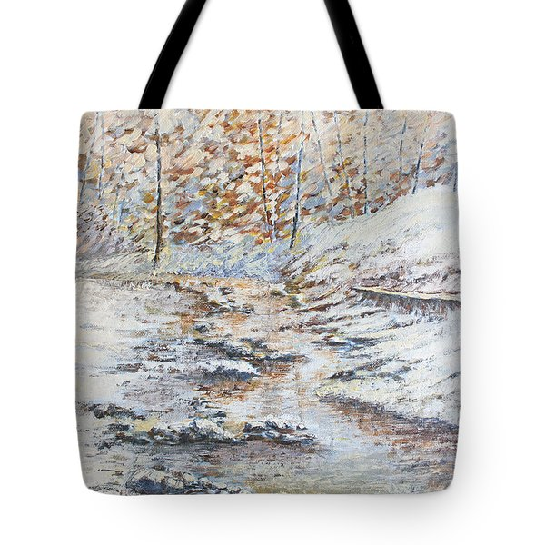 Winter River Tote Bag by Todd A Blanchard