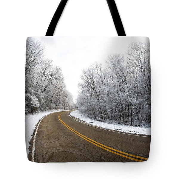 Tote Bag featuring the photograph Winter Road by Todd Klassy