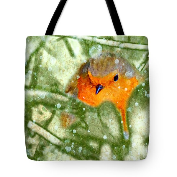 Tote Bag featuring the photograph Winter Robin by LemonArt Photography