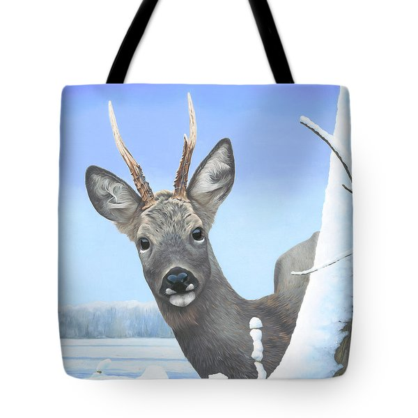 Winter Roebuck Tote Bag by Clive Meredith
