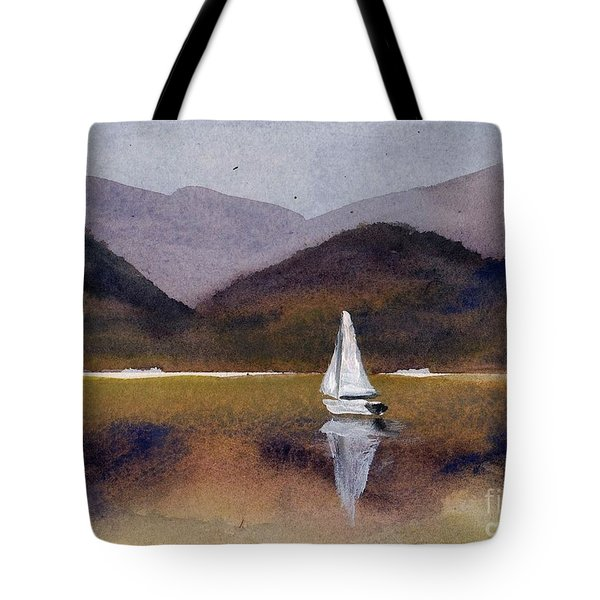 Winter Sailing At Our Island Tote Bag by Randy Sprout