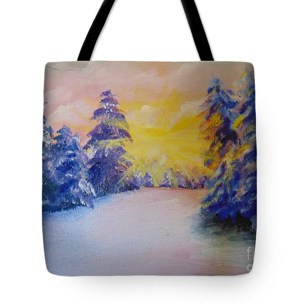Tote Bag featuring the painting Winter by Saundra Johnson