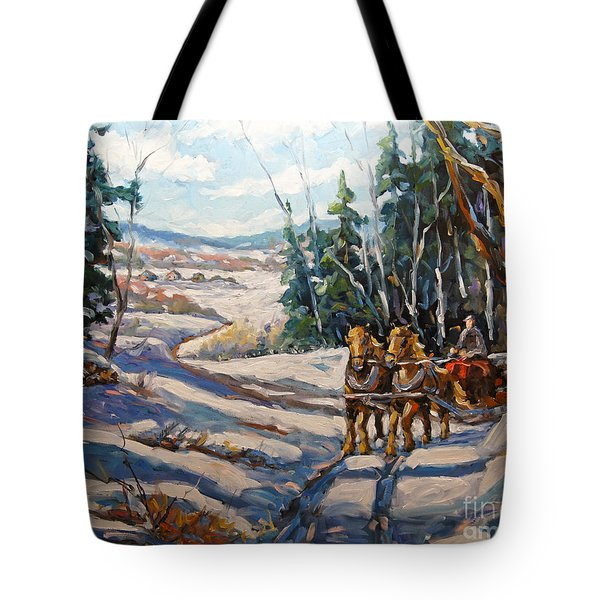 Winter Scene Loggers Horses By Prankearts Tote Bag