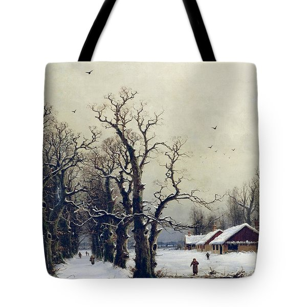 Winter Scene Tote Bag by Nils Hans Christiansen