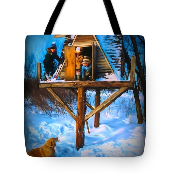 Winter Scene Three Kids And Dog Playing In A Treehouse Tote Bag