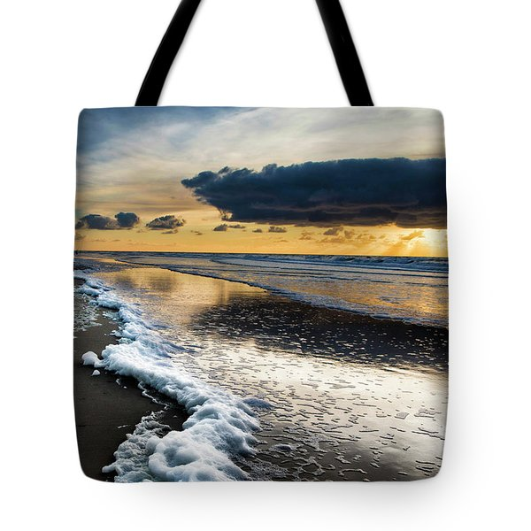 Winter Sea Sunset Tote Bag