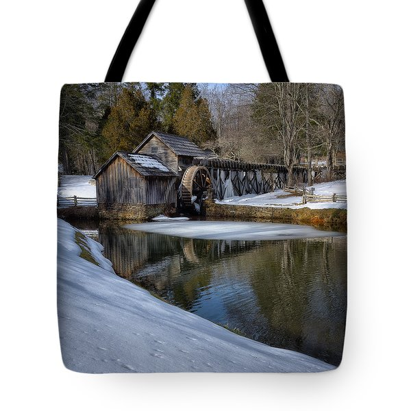 Winter Snow At Mabry Mill Tote Bag