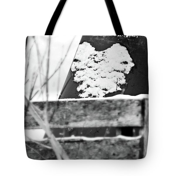 Winter Snow Heart Tote Bag