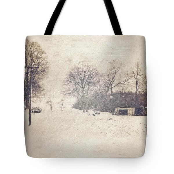 Winter Snow Storm At The Farm Tote Bag