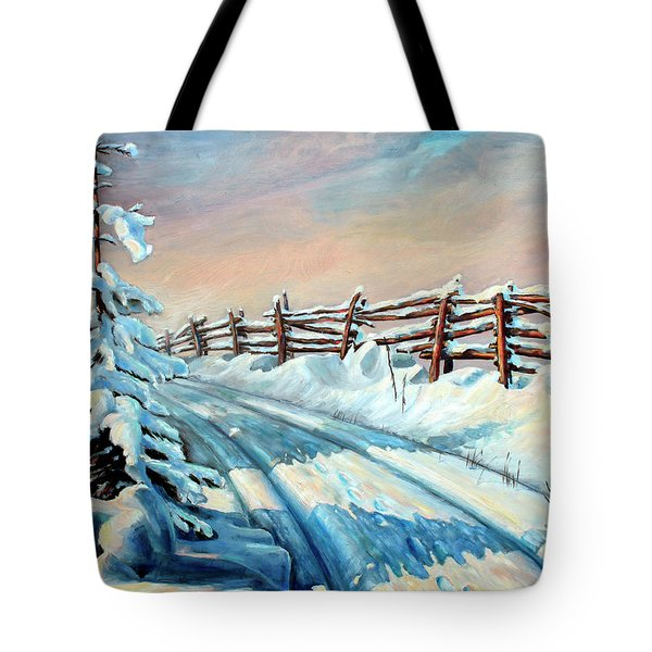 Winter Snow Tracks Tote Bag by Hanne Lore Koehler