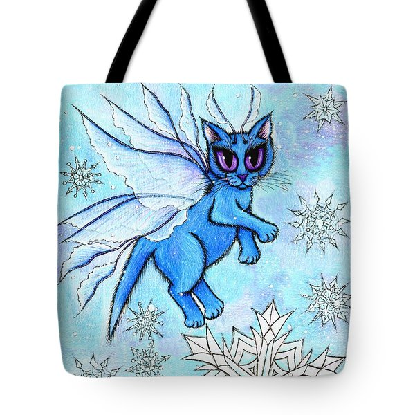 Winter Snowflake Fairy Cat Tote Bag