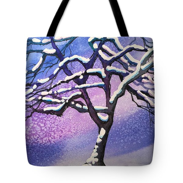 Winter Snowstorm Tote Bag by Christine Camp