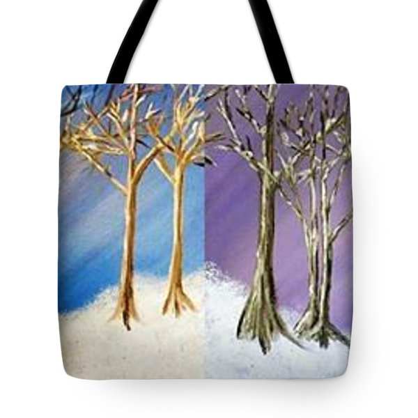 Tote Bag featuring the painting Winter Solstice Blue And Purple by Debbie