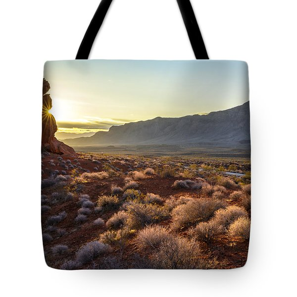 Winter Solstice Sunrise At Balanced Rock Tote Bag