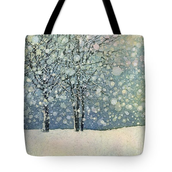 Tote Bag featuring the painting Winter Sonnet by Hailey E Herrera
